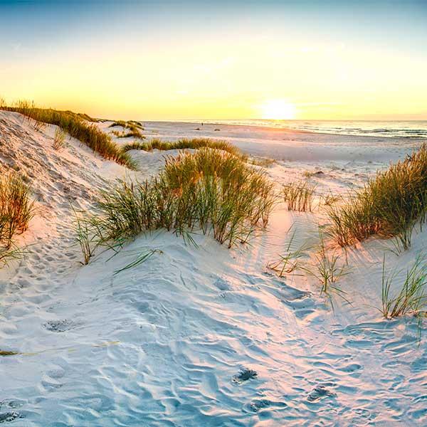 yoga og mindfulness paa stranden i solnedgang